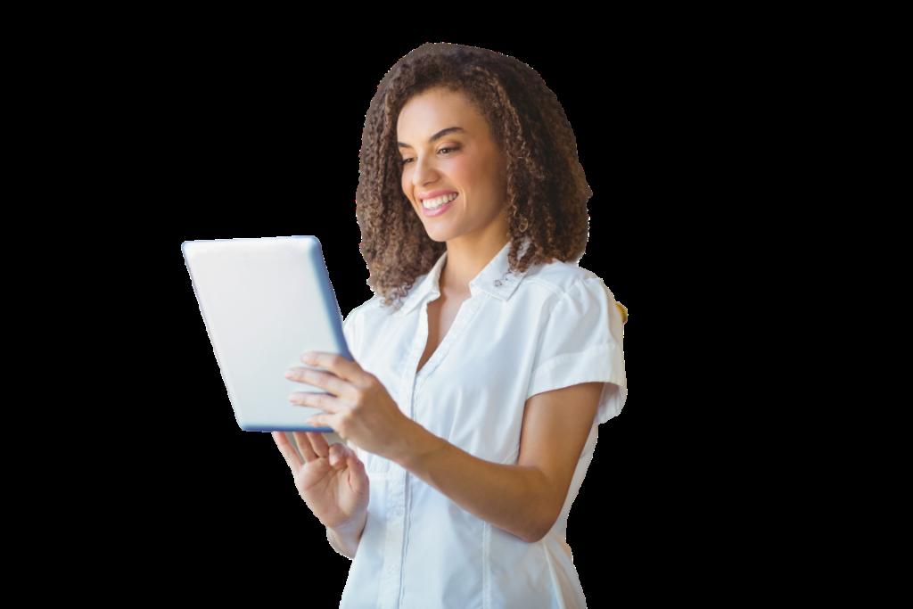 Mulher utilizando um tablet